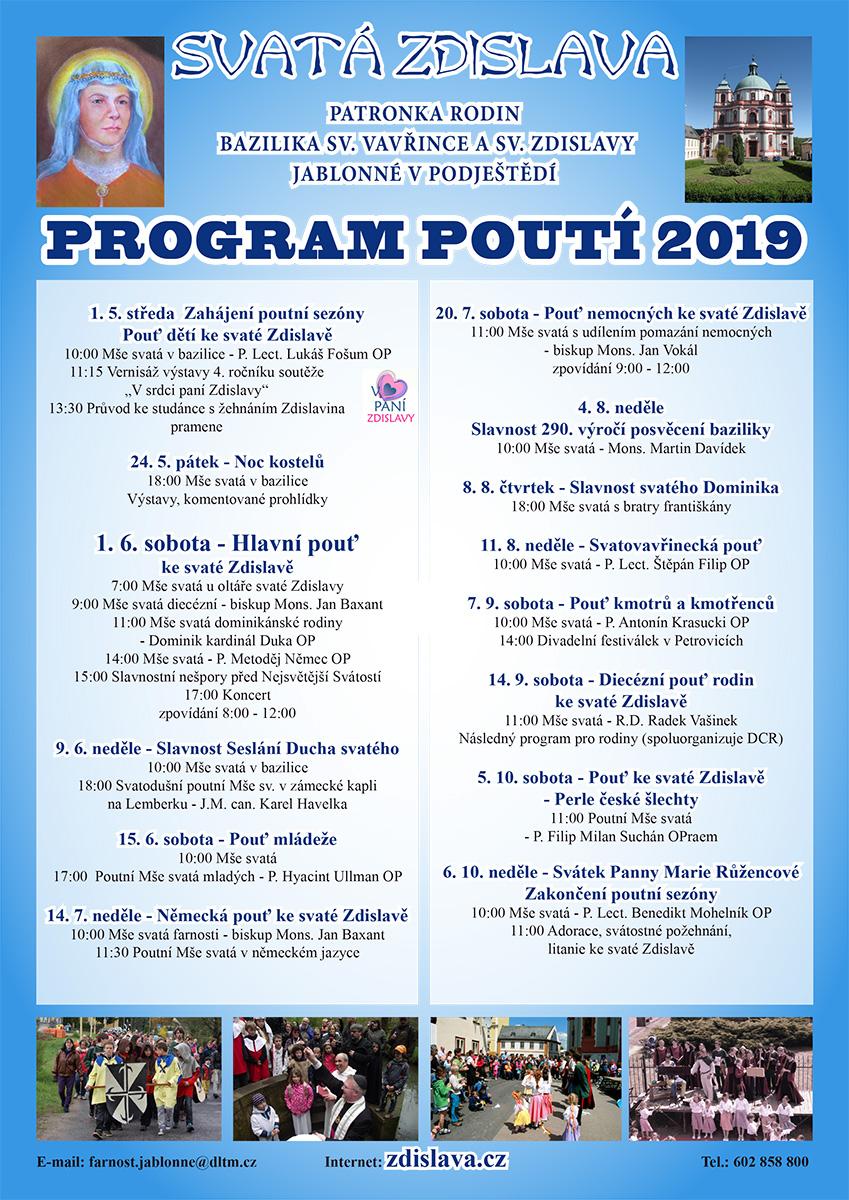 Program poutí ke sv. zdislavě 2019